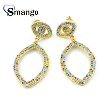 3Pairs,The Rainbow Series,The Eyes Shape Women Fashion Earring .Gold Colors, Can Wholesale
