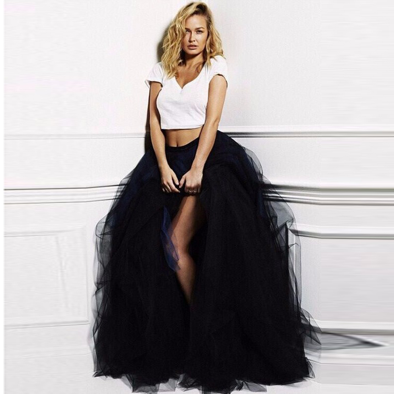 Sexy Black Pleated Skirt High Fashion Side Split Skirts Woman All The Season Natural Color Tutu Skirt Female Adult Long Skirt
