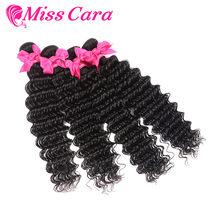 1/3/4 Bundles Deep Wave Malaysian Hair Weave Bundles 100% Human Hair Extensions Natural Black Color Miss Cara Remy Human hair