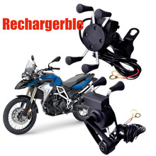 Universal Chargeable Motorcycle Scooter Handle Bar Mirror Rear View Mount Cell Phone Holder USB Charger for iPhone7 6
