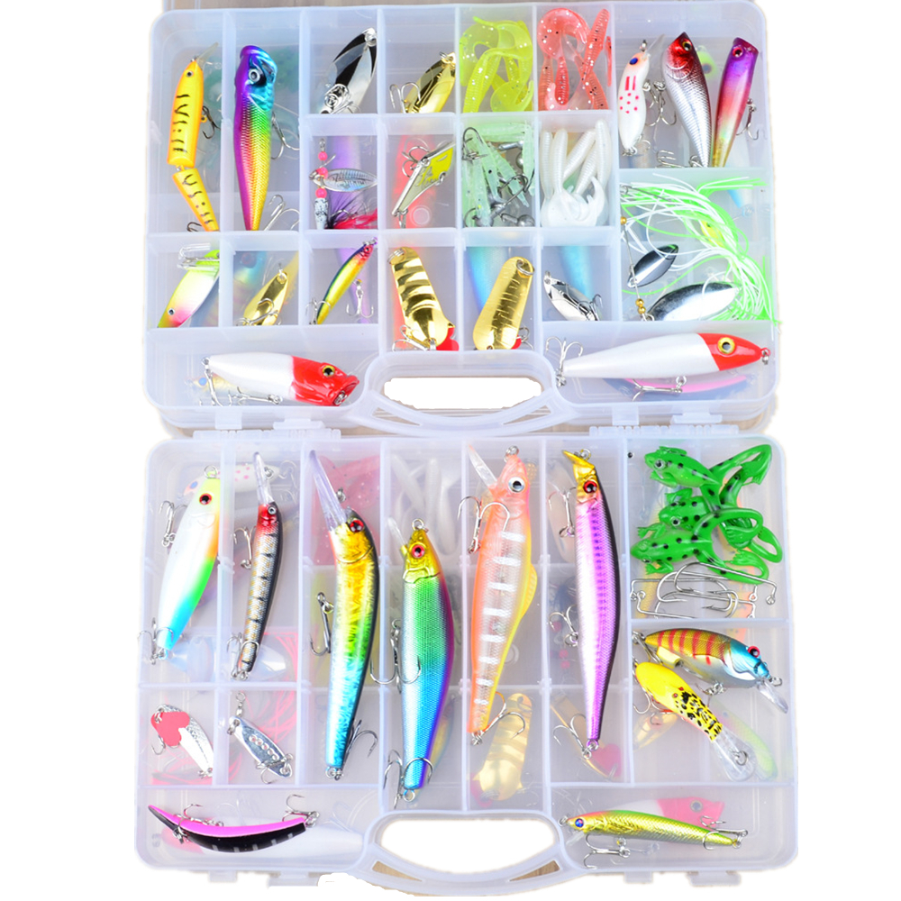купить 69pcs/set plastic fishing lures set Assorted Fishing Bait Fishing Tackle with big 2-layer retail box недорого