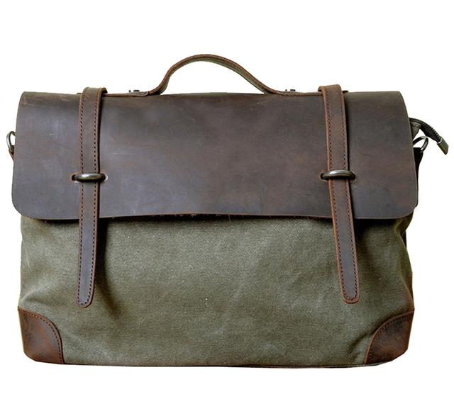 Men/Women Vintage genuine leather and canvas patchwork bags  messenger bags fashion single shoulder travel bag  mens handbags