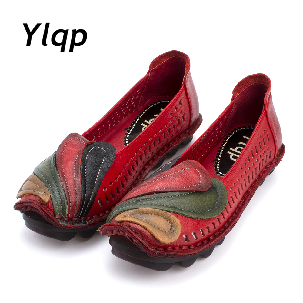 2017 Genuine Leather Flat Shoes Woman Ha