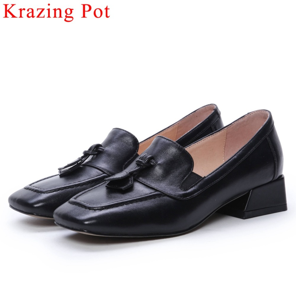 Krazing Pot big size natural leather low heels simple design square toe slip on women pumps