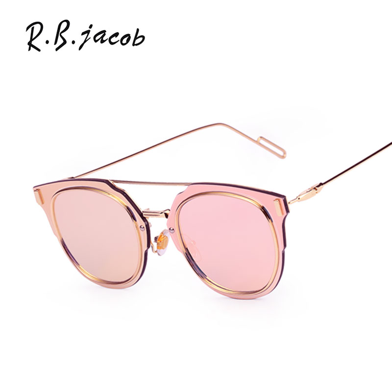 Classic Fashion Flat Lens Mirror Sunglasses Women Brand Designer Cat Eye UV400 Sun Glasses Female Metal Frame High quality