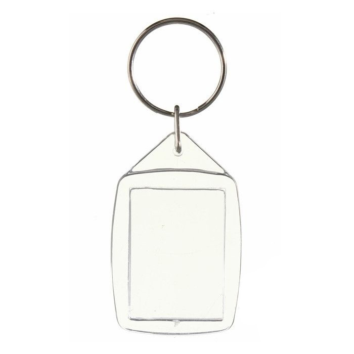 50 piezas de plástico acrílico transparente en blanco llaveros insertar foto de pasaporte llavero llaveros
