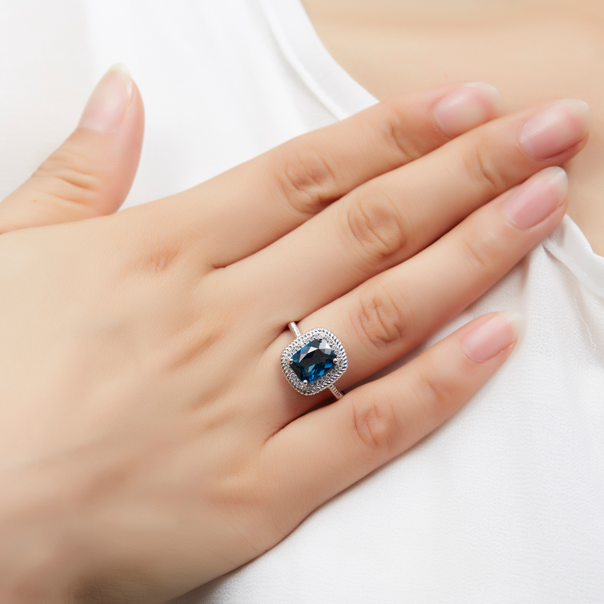Здесь продается  Hutang Genuine London Blue Topaz Ring Solid 925 Sterling Silver Gemstone Fine Jewelry Women Wedding Party Brand Jewelry  Ювелирные изделия и часы