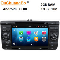 Ouchuangbo android 8.0 car DVD player gps navigation for Skoda Octavia with 8 Core USB wifi 2GB+32GB S200