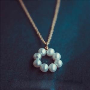 Image 3 - פנינת שרשרת זהב מלא Chocker בציר תכשיטי מינימליזם קסם שרשרת Bijoux Femme Boho שרשרת לנשים קולייר