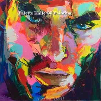 Hand painted Francoise Nielly Palette knife portrait Face Oil painting Character figure canva wall Art picture15-48