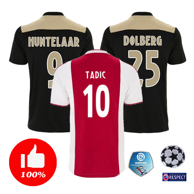 2018 2019 Adult Shirt Top Quality Home Red White T-shirts 18 19 Ajax Away Black ZIYECH DOLBERG Nouri Casual Shirts Free Shipping(China)