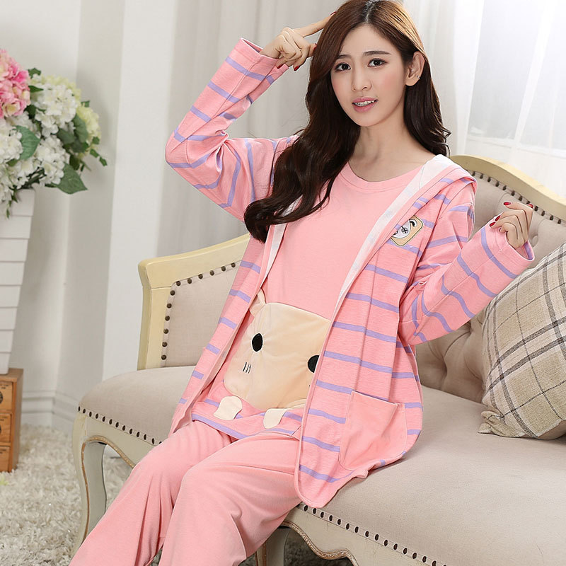 Autumn Winter Flannel Maternity Pajamas Long Sleeve 3pcs Spring Postpartum Breastfeeding Clothes Pregnant Women Nightwear