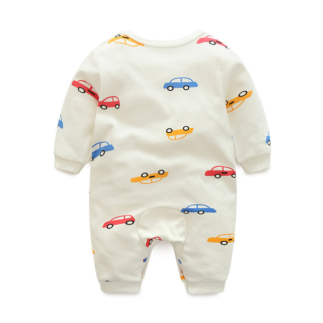 0-24M  Cartoon Car  new baby girl boy romper clothes  jumpsuit onepiece brand toddler suit infant clothing costume 100% Cotton