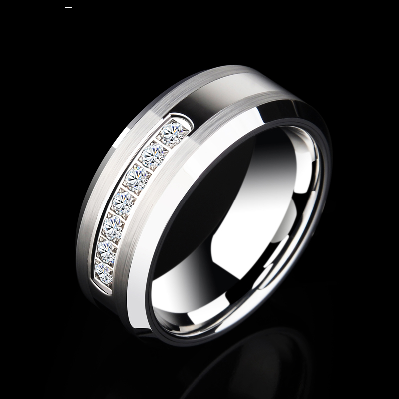 Saya Brand Men's 8mm Tungsten Rings for Wedding with Shiny Seven CZ Stones by CNC For Man's Fashion Jewelry Size 7-11