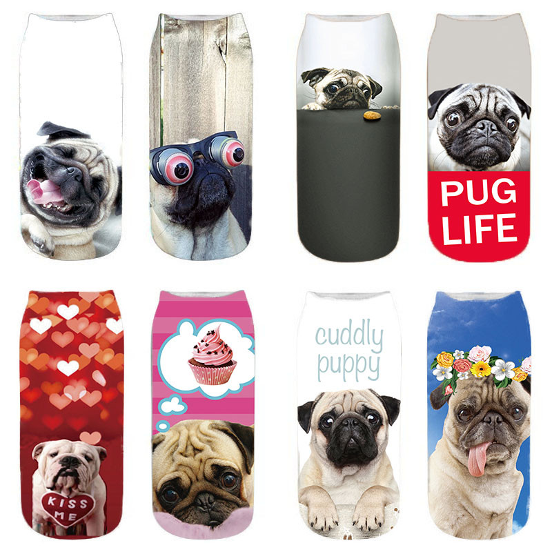 New Cute Dog 3D Printing Socks Women Ankle Socks Chaussette Animal Sock Art Puppy Hosiery Fashion Cool Funny Cat Life Sox 6VB173