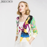 JKKUCOCO Print Flowers Fashion Lady Cotton sweaters Women Sweater Single breasted deep V neck Cardigans Women Knitted Sweaters