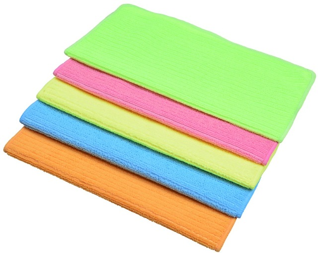5pcs 30cmx30cm Multi Purpose Microfiber Strips Dishcloths Kitchen Dish Cloth Cleaning Cloths Orted Color