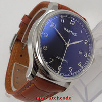 43mm Parnis Black Dial Sea Gull 2551 Movement Automatic Brown Strap Men Watch 155