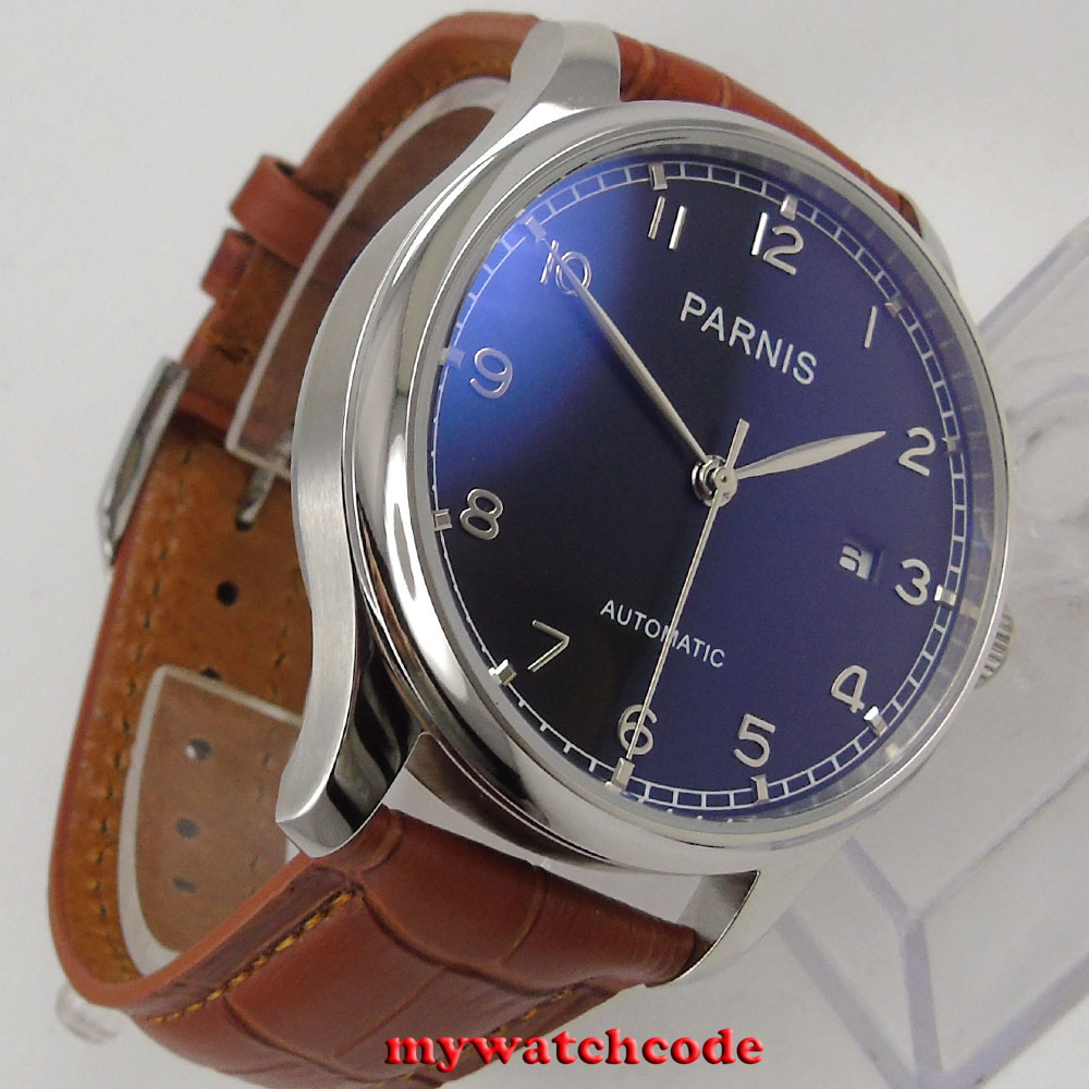 43mm parnis black dial sea-gull 2551 movement automatic brown strap men watch 155