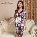 Tinyear 2017 bonita moda floral de cetim de seda de manga curta mulheres pijama