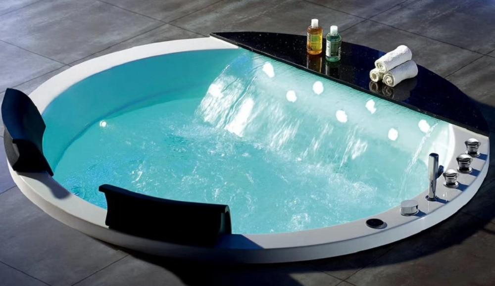Banheira de hidromassagem acrílica redonda de 1500mm banheira de hidromassagem cachoeira dupla pessoas banheira ns1106-2