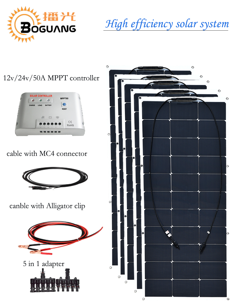 BOGUANG 500w semi flexible solar panel solar system efficient cell DIY kit module 50A MPPT controller adapter MC4 connector 12v 30w solar panel polycrystalline semi flexible solar battery for car boat emergency lights solar systems solar module