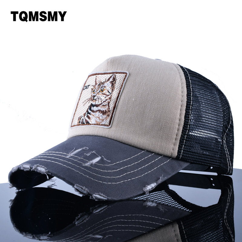 TQMSMY Embroidery Cat Trucker Cap men Snapback caps Breathable Mesh Baseball Cap Women sun Hats For Men Unisex Hip Hop Casquette