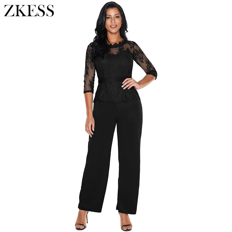 ZKESS Women Fashion Peplum Top Wide Leg Jumpsuits Casual 3 4 Lace Sleeved O  Neck Straight Rompers Party Club Playsuits LC64356 69c249d7c89c