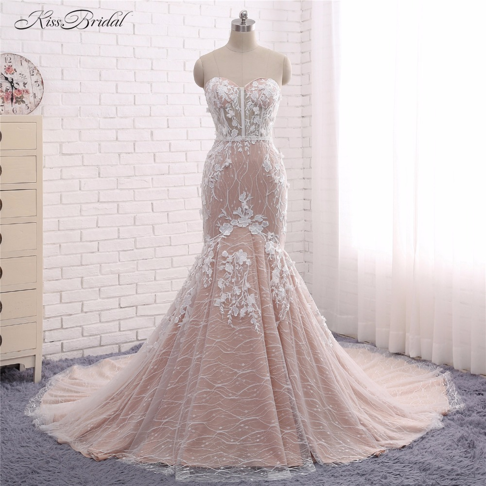 2018 new arrival wedding dresses robe de mariee mermaid strapless lace appliques bridal gown
