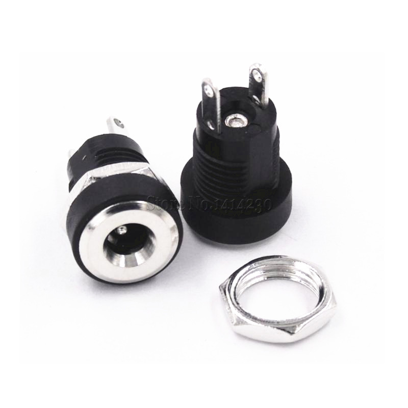 2Pcs 3A 12v For DC Power Supply Jack Socket Female Panel Mount Connector 3.5mm 1.35mm 2 Terminal Types 3.5*1.35