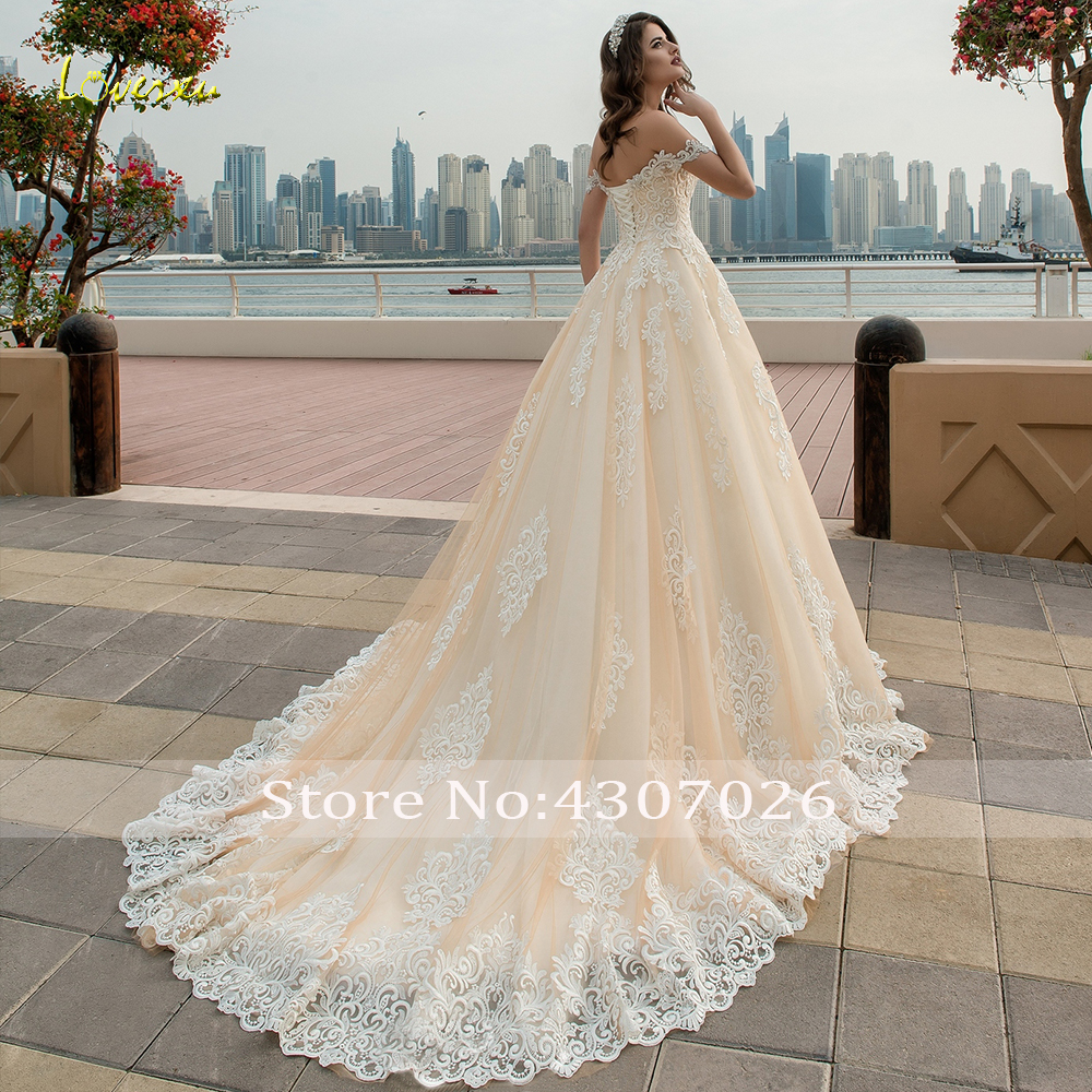 Loverxu Sweetheart Ball Gown Wedding Dress Chic Appliques Beading Off The Shoulder Backless Bride Dress Chapel Train Bridal Gown