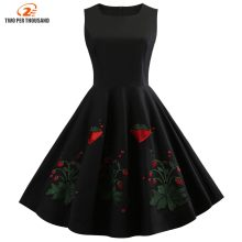 S-4XL Strawberry Embroidery Summer Vintage Dress Plus Size 4XL Women Retro  Party Dress Black Vestidos Femme Rockabilly Dresses 17c4dc526a67