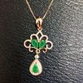 Verde esmeralda natural piedra colgante S925 Collar de plata Colgante de piedras preciosas Naturales campana de moda Water drop joyería partido de las mujeres