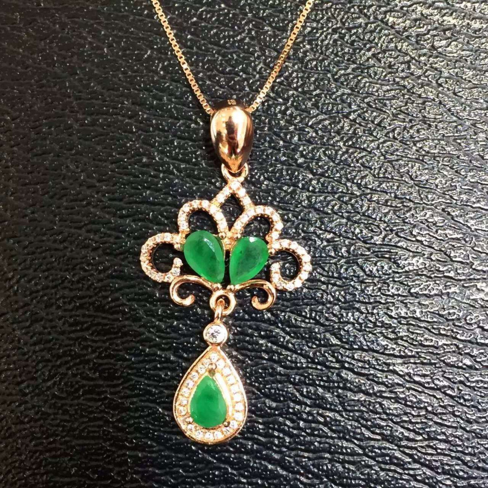 все цены на natural green emerald stone pendant S925 silver Natural gemstone Pendant Necklace trendy Water drop bell women party jewelry