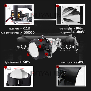 Image 2 - ROYALIN Bi Xenon HID H1 Mini Projector Lens 2.5 Auto Headlight Halogen Lens Hi/Lo Beam for H4 H7 Car Styling Bulb Retrofit DIY