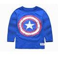 2016 Otoño Capitán América camiseta Embroma la Ropa Para Adolescentes Niños Camisetas Niños Muchacho de la Historieta T-shirt de Algodón Del O-cuello