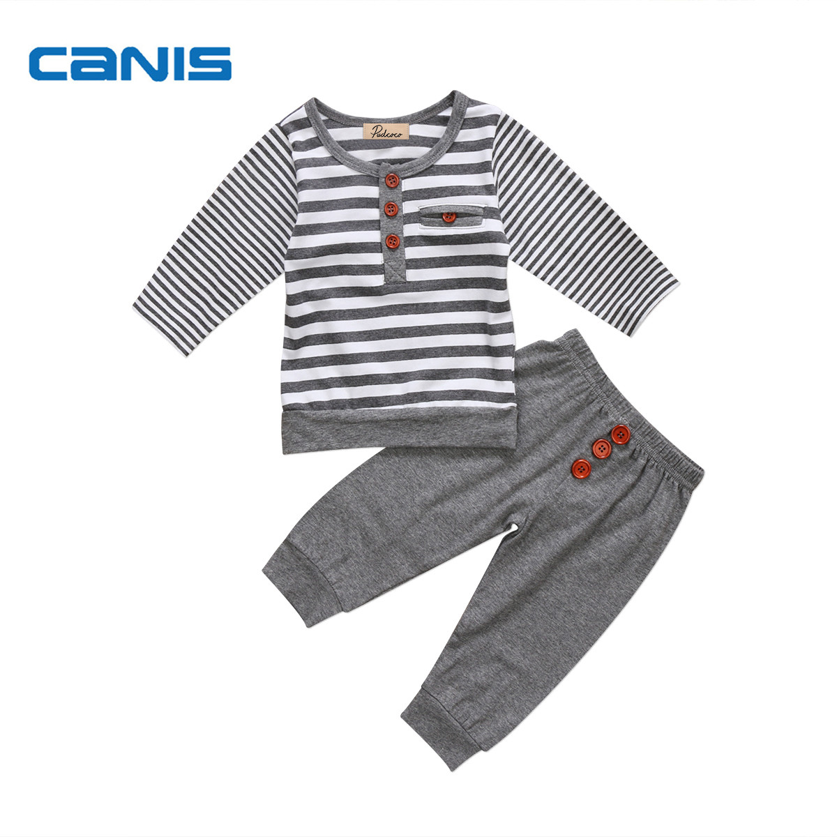 2017 Brand New Newborn Toddler Kids Baby Boy Girl Infant Cotton Clothes Long Sleeve Top T Shirt Pants Striped Outfit 2Pcs Sets t shirt tops cotton denim pants 2pcs clothes sets newborn toddler kid infant baby boy clothes outfit set au 2016 new boys