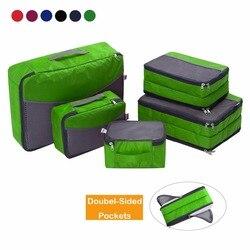 Ufine 5 Set Reise Gepäck Organizer-Doppelseitige Carryon Leichte Verpackung Würfel Lagerung Taschen