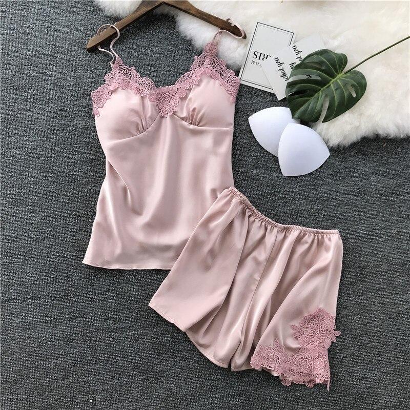 Womens   Pajamas   Spaghetti Strap Silk Applique Satin Cami Top and Shorts   Pajama     Set   With Padded Bra Summer Sleepwear   Pajama     Set