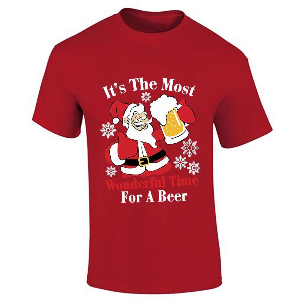 Mens Boys Its The Most Wonderful Time For A Beer Lot Parties Wear Top T Shirt Male Hip Hop funny Tee Shirts cheap wholesale