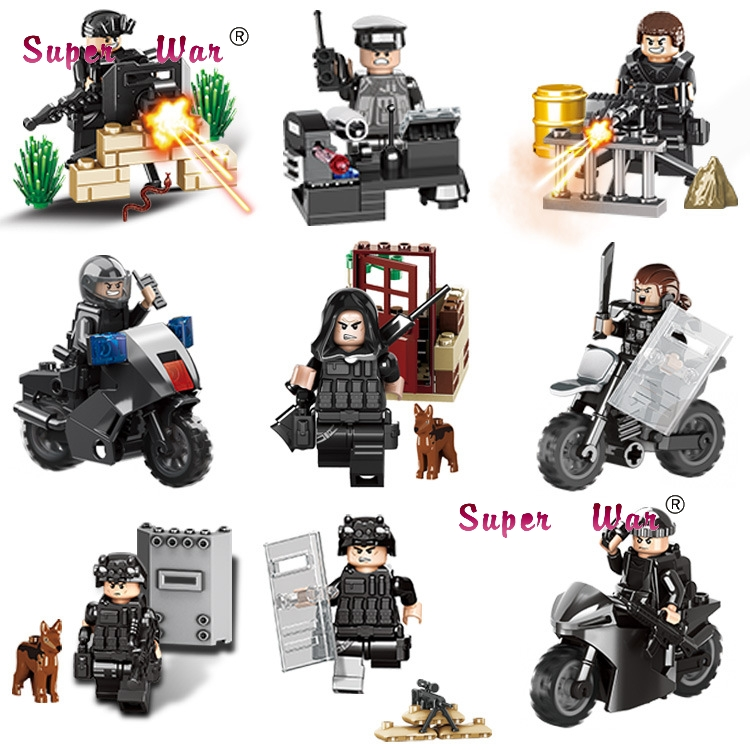 653001 Special Force MILITARY Soldiers Motorcycle WW2 Action Figure Model Doll Building  ...