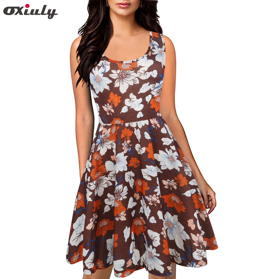 Oxiuly Women Vintage Dress 50s Rockabilly Floral Swing Sleeveless Casual Dresses Elegant Tunic Vestidos Robe