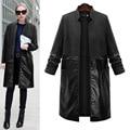 5XL Plus Size Long Slim PU Leather Spring Jacket Women Patchwork Cashmere Long Leather Female Jacket Slim Stand Collar Cardigan