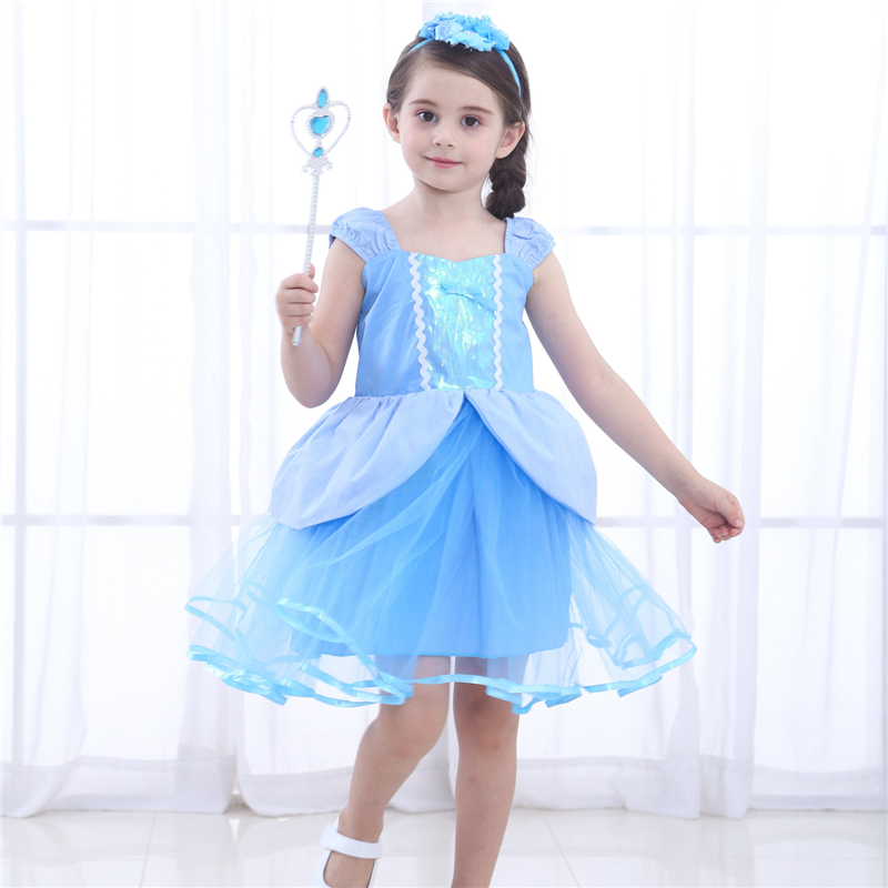 Blue Cinderella Dress, Girls Tutu Dress, Toddler Girl Princess Dress, Children Halloween Cosplay Costume, Kids Beauty Clothes