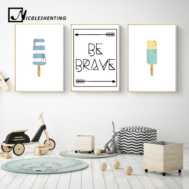 Be Brave Motivational Wall Art Canvas Nordic Posters Prints Cartoon Food  Painting Nursery Picture Kids Bedroom