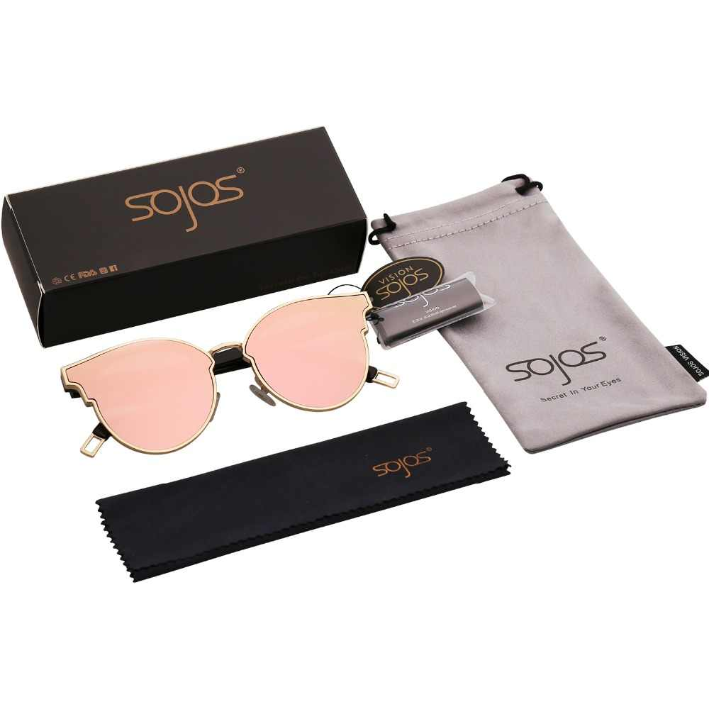 9e01d58e4e9 ... Sunglasses Woman Fashion CatEye Round Mirrored Flat Lenses Metal Frame  Oversized Party Summer Glasses Oculos De