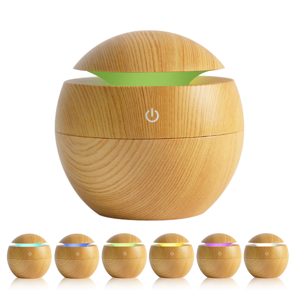 KBAYBO 130ML USB Mini Wood Grain Air Humidifiers Aromatherapy Ultrasonic Humidifier Diffuser With Color Changing LED For Home