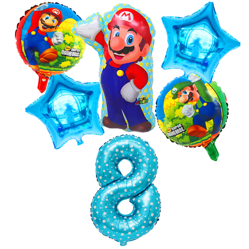 6pcs/Set Super Mario Balloons 30 Inch Number Balloon Birthday Party Decorations Kids Classic Blue Red Mario Bros Mylar Supplies