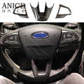 3pcs Carbon fiber color Steering Wheel Cover Fit For ford Focus Escape Kuga not for RS ST