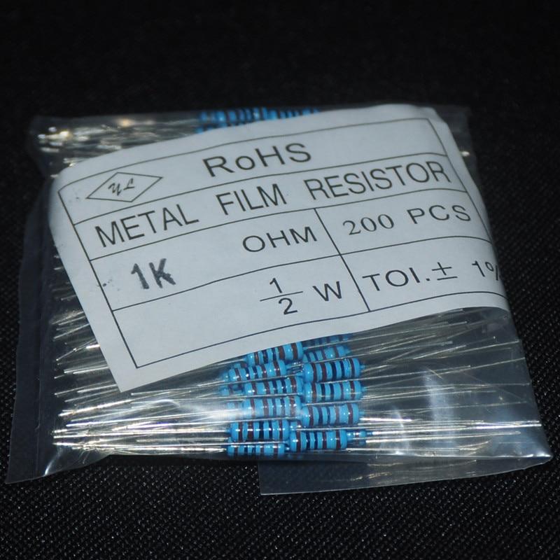 200pcs 0.5 Watt Resistor Pack 1K Metal Film Resistor Resistencia 1k 1/2 1000 Ohm 1k Ohms Resistor 1/2W